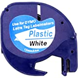 5 Pack Compatible DYMO Black on White Plastic LetraTag Labels 91331 91201 Label Tape 12mm