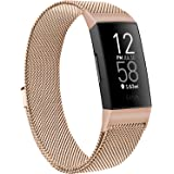 Metal Bands Compatible with Fitbit Charge 4 & Fitbit Charge 3 & Charge 3 SE Band, Adjustable Stainless Steel Loop Metal Mesh