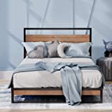 Zinus Ironline Single Bed Frame Base Metal and Pine Wood Headboard Platform Bed Furniture Mattress Support Suzanne Industrial
