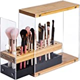 JackCubeDesign 31 Holes Acrylic Bamboo Brush Holder Organiser Beauty Cosmetic Display Stand with Leather Drawer(Black, 22.3 x