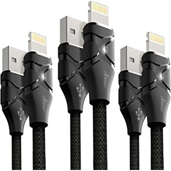 ライトニングケーブル 【3本セット】1.2m+1.2m+1.8m Aimus LEDライト付き 高耐久 iPhone lightning ケーブル USB充電 iPhoneXS/iPhone XS MAX/iPhoneXR/iPhoneX / 8 / 8 Plus / 7 / 7 Plus 対応 ブラック