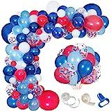Navy Blue Red White Balloon Garland Kit,139 Pack Navy Red White Confetti Balloon for Boy Blue Birthday Baseball Nautical Them