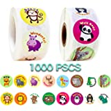 Animal Stickers for Kids, 1000 Pcs Cute Animal Stickers, 16 Pattern Animal Stickers for Toddlers, Assorted Vibrant Colors and