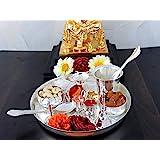 NOBILITY Silver Plated Puja Thali Set 8 Inch, Occasional Diwali Gift, Pooja Thali Decorative, Wedding Return Gift