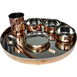 PARIJAT HANDICRAFT Indian Dinnerware Stainless Steel Copper Traditional Dinner Set of Thali Plate, Bowls, Glass and Spoon, Di