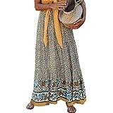 Women's Vintage Floral Print High Elastic Waist Pleased Long Maxi Boho Skirt