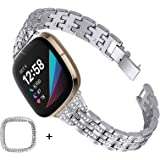 Joyozy Women Girls Slim Stylish Bands Compatible with Fitbit Sense/Fitbit Versa 3,Stainless Steel Jewelry Rhinestone Dressy R