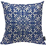 Mugod Moroccan Tile Pillow Cover Ikat Damask Traditional Floral Cobalt Blue and White Decorative Throw Pillow Cases Cotton Li