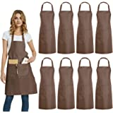 DUSKCOVE 8 Pack Bib Aprons Bulk - Unisex Brown Commercial Apron with 2 Pockets for Kitchen Crafting BBQ Drawing Cooking