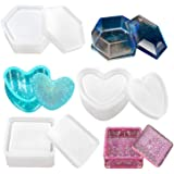 Box Resin Moulds, Jewellery Box Moulds with Heart Shape Silicone Resin Mould, Hexagon Storage Box Mould and Square Epoxy Moul
