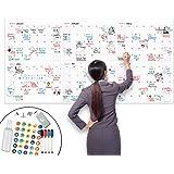 "Lushleaf Designs - Large Dry Erase Calendar - 36""x72"" Undated Erasable Monthly Year Calendar- Laminated Wall Calendar for Hom"