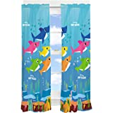 "Franco Kids Room Window Curtain Panels Drapes Set, 82"" x 63"", Baby Shark"