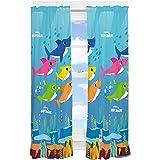 "Franco NU1688 Kids Room Window Curtain Panels Drapes Set, 82"" x 63"", Baby Shark"