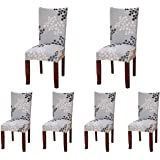 (Style 24) - 6 x Soulfeel Soft Spandex Fit Stretch Short Dining Room Chair Covers with Printed Pattern, Banquet Chair Seat Pr