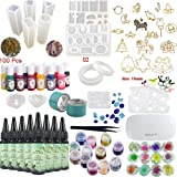 Epoxy Resin UV Glue Kit Crystal Clear Transparent with Lamp Tweezers 36 Decorations 13 Silicone Moulds 13 Colour Liquid Pigme