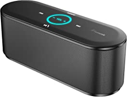 Honstek K8 Portable Bluetooth Wireless Speakers with Touch Control, 10W Output Power with Enhanced Bass, Built-in Mic for Hands-Free Calling, 3.5 mm Audio Port for Computer, 8 Hours Playtime