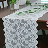 Vintage-Lace-Table-Runner 12x120-Inch Wedding Bridal Lace Table Runners Flower Table Runner Tea Party Tablecloth White Lace R