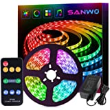 sanwo Dream Magic Color Led Strip Light Kit Sync with Music 16.4ft WS2811 RGB 5050SMD Waterproof String Lights with Remote 12