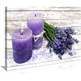 Canvas Wall Art for Bathroom Purple Candles and Lavender Flower Painting Pictures Print on Canvas Prints Ready to Hang Wall D