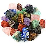 "Unihom 3 lbs Bulk Rough Madagascar Stones Mix - Large 1"" Natural Raw Stones Crystal for Tumbling, Cabbing, Fountain Rocks, De"