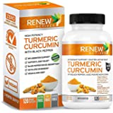 Double Strength Organic Turmeric + Black Pepper: Renew Actives 1310mg Turmeric Curcumin Supplement. Powerful Joint Support