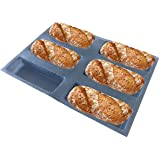 Bluedrop Silicone Bread Forms Square Shape Bread Molds Non Stick Bakery Trays Silicone Coated Fiber Glass 6 Caves Rectangle M