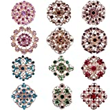 Mutian Fashion Lot 12pc Multi-Color Rhinestone Crystal Flowe