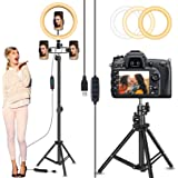 "Circle Light, Selfie Ring Light with 82"" Stand and 3 Phone Holders, 10"" Led Ring Light Tripod with Ultra-Wide Lighting Area f"