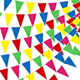 YGEOMER 300pcs Colorful Flag Pennants Multicolor Pennant Banner Nylon Cloth Pennant Flags Banner for Party Celebrations and S
