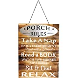 Wooden Antique Hanging Porch Rules Sign Vintage Style Porch Rules Plaque Wall Proch Decor Indoor Outdoor Home Decoration 16''