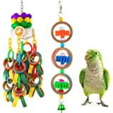 MEWTOGO 2Pcs Paper Rings Bird Chewing Toys- Olympic Rings Bird Toy + Colorful Bagel Cascade Parrot Toy Bird Biting Cardboard