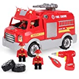 REMOKING STEM Learning Take Apart Toy for Boys & Girls, Build Your Own Car Toy Fire Truck Educational Playset with Tools and