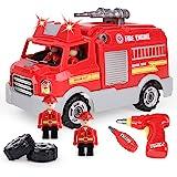 REMOKING 車おもちゃ 組み立ておもちゃ 消防車おもちゃ DIY 車セット おもちゃ 男の子 子供玩具 知育 おもちゃ おもちゃ 女の子 サウンドポンプ消防車 子供向け ごっこ遊び 子供玩具 音と光と手遊びいっぱい 付き26ピース 緊急車セット
