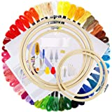iZiv Full Range of Embroidery Starter Kit Including 5 Pieces Bamboo Embroidery Hoops, 50 Color Threads, 2 Pieces 12 by 18-Inc