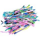 Toyvian 48PCS Friendship Fidget Zipper Bracelets Sensory Toys Bulk Set for School Students Kids Goodie Bags (Assorted Color)