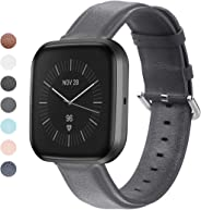 MEFEO Compatible with Fitbit Versa Bands, Genuine Leather Band Wristband Replacement Strap for Fitbit Versa/Versa 2 / Versa L