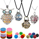 4 PCS Classical Aromatherapy Essential Oil Diffuser Necklace Pendant Combinations, Garden Style/Heart Locket and Owl Necklace