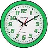 Moonport 8 Inch Wall Clock,Silent Non-Ticking Quartz Battery Operated Round Easy to Read for Home/Office/Shcool Clock-Green