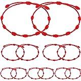 12 Pieces Red Rope Bracelet Adjustable Lucky Bracelet 7 Knots Red Cord Bracelet