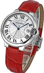 腕時計 GUANQIN アナログ ウォッチ watch クォーツ カレンダー 防水 サファイアガラス レザーベルト レディース 赤ベルト [ ファッション 腕時計 通販 Amazon 店 ]誕生日, クリスマス プレゼント, イベント 等 に センス の いい 腕時計 を。 [オリジナルブレスレットとサシェセット]