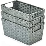 EZOWare Pack of 3 Woven Paper Rope Storage Baskets, Multipurpose Organiser Bins with Handles Perfect for Storing Small Househ