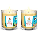 2 Day Glass Memorial Beeswax Candle, Yahrzeit Candle, Religious Memorial Yizkor Yiskor Candle in Glass Jar (2-Pack)