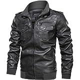 TACVASEN Men's Faux-Leather Jacket Vintage Motorcycle Biker Jackets Coat