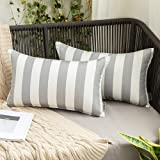 MIULEE Pack of 2 Decorative Outdoor Waterproof Throw Pillow Covers Stripe Lumbar Pillowcases Modern Cushion Cases for Patio C