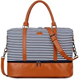 BAOSHA HB-28 Ladies Women Canvas Travel Weekender Overnight Carry-on Shoulder Duffel Tote Bag With PU Leather Strap (Blue Str