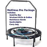 MaXimus Pro Quarter Folding Mini Trampoline Includes DVD Bar Bag Bands Weights