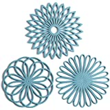 Set of 3 Silicone Trivet Mat - Hot Pot Holder Hot Pads for Table & Countertop - Trivet for Hot Dishes - Non-Slip & Heat Resis