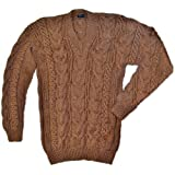 Gamboa - Hand Woven Alpaca Sweater - Cable Knit Alpaca Sweater - Brown