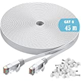 Ethernet Cable, 45M / 150ft Cat6 White Flat Network Internet Cord with Cable Clips - Ikerall RJ45 Connector High Speed Intern