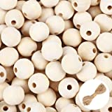 UOONY 300pcs 20mm Wooden Beads for Crafts, Round Natural Unfinished Wooden Loose Beads, Christmas Tree Garland Making, Wood S